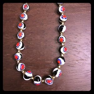 Vintage Star Glass Beads - Blk/White/Red/Blue